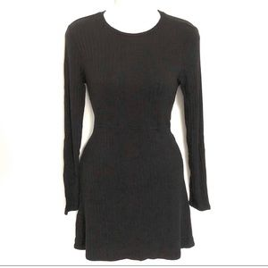 Reformation Shira ribbed black dress